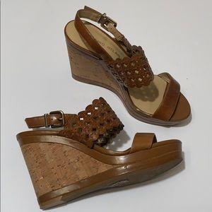 Antonio Melani Brown Laser Cut Cork Wedge Sandals